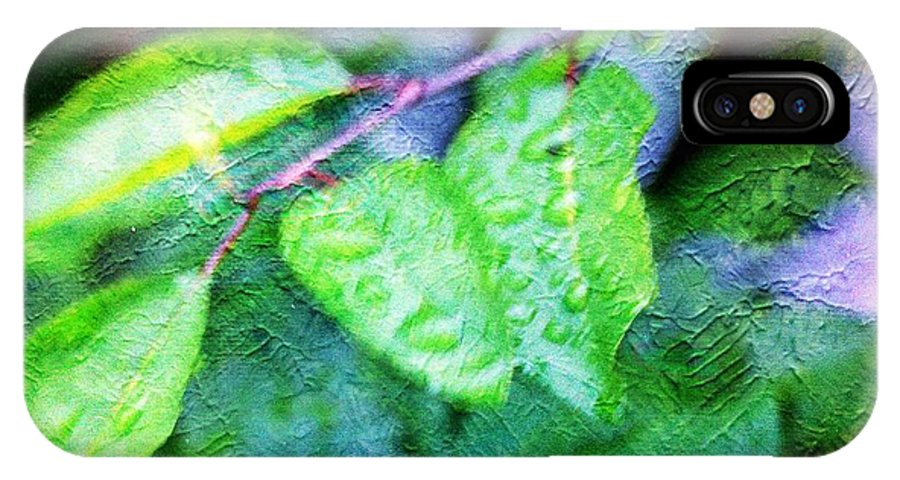 Green IPhone X Case featuring the photograph Green Leaf As A Painting by Karl Rose