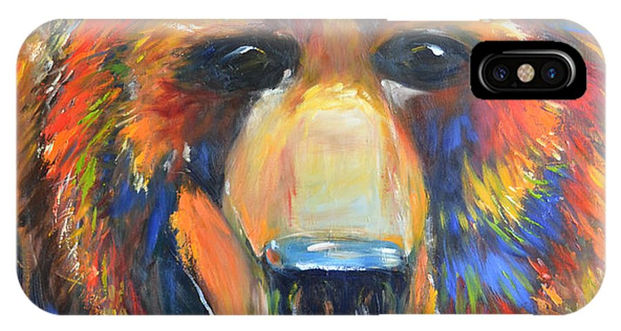 Horse IPhone X Case featuring the painting Grizzly by Cher Devereaux