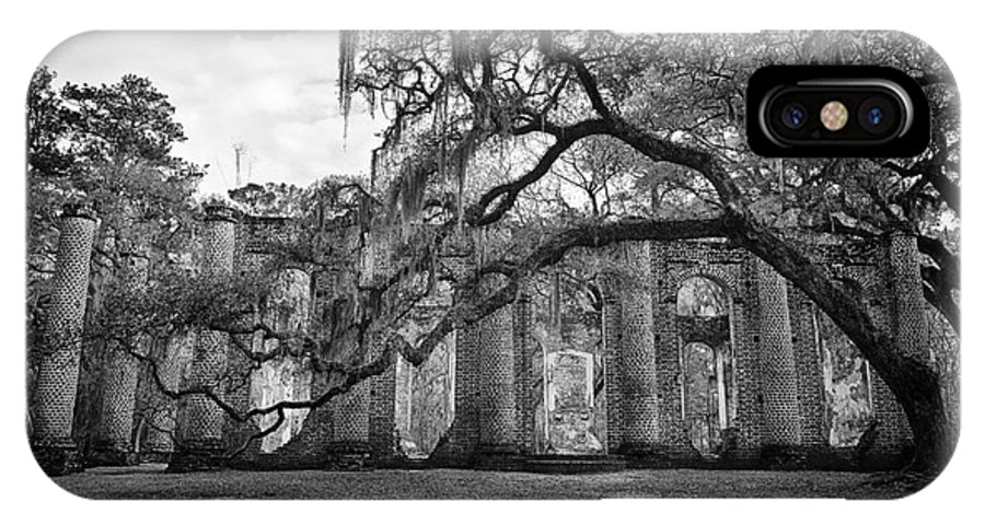 Old Sheldon Church IPhone X Case featuring the photograph Historic Sheldon Church 4 Bw by Carrie Cranwill
