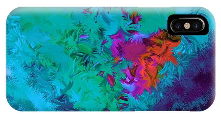 Abstract IPhone X Case featuring the digital art Hold Me Close Teal by Holley Jacobs