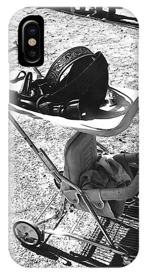 Holster Brief Case Baby Carriage Tombstone Arizona 1970 IPhone X Case featuring the photograph Holster Brief Case Baby Carriage Tombstone Arizona 1970 by David Lee Guss