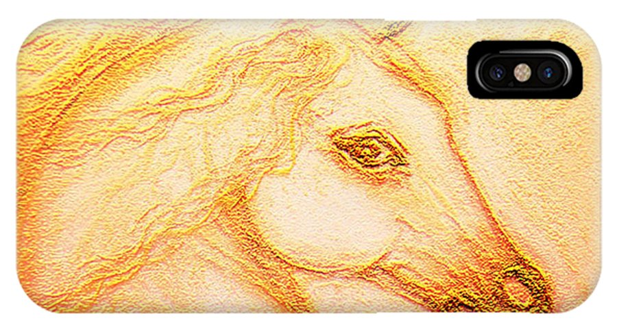 Horse IPhone X Case featuring the mixed media Horse Of The Sun by Ananda Vdovic