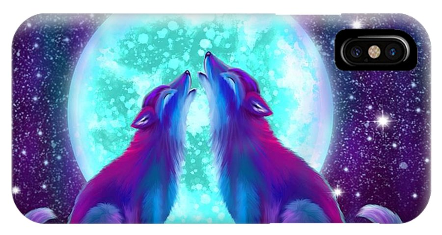 Wolf IPhone X Case featuring the painting Howling Together by Nick Gustafson