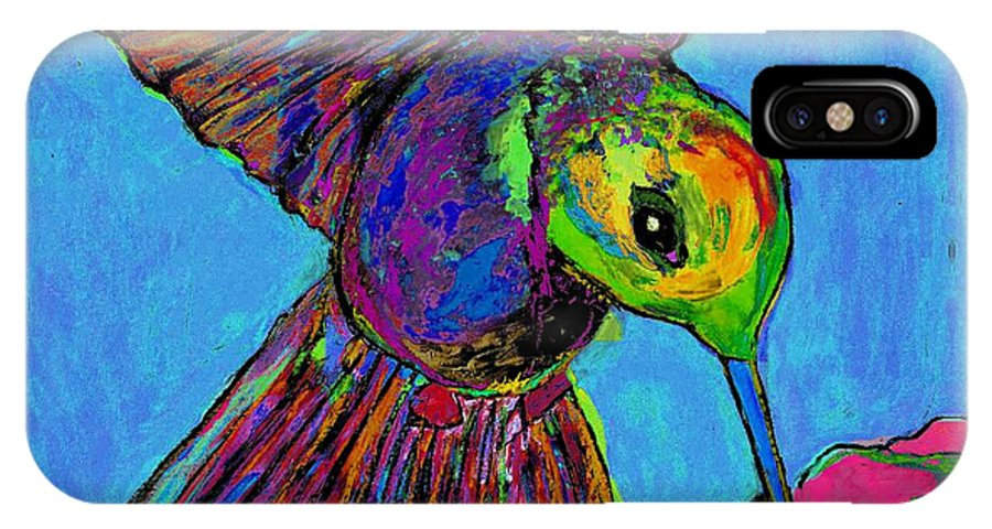Hummingbird IPhone X Case featuring the painting Hummingbird On Blue by Dale Moses