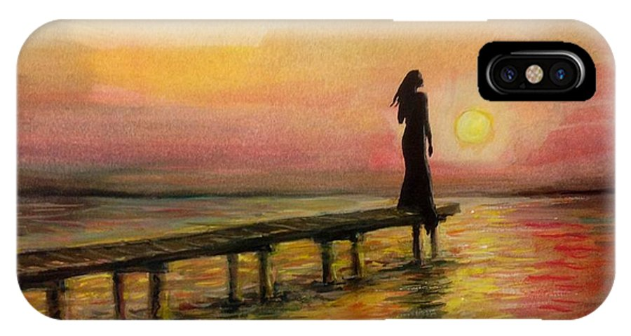 Sunset IPhone X Case featuring the painting I Am Still Waiting For You by Katerina Kovatcheva