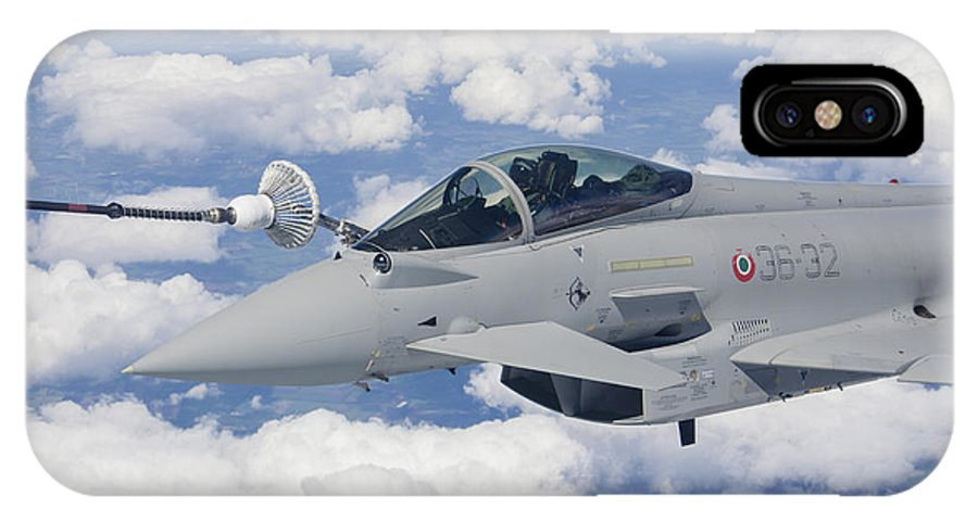 No People IPhone X Case featuring the photograph Italian Air Force Eurofighter Typhoon by Timm Ziegenthaler
