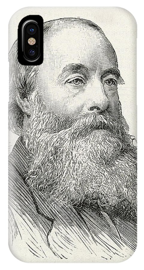Joule IPhone X Case featuring the drawing James Prescott Joule (1818-1889) by Illustrated London News Ltd/Mar