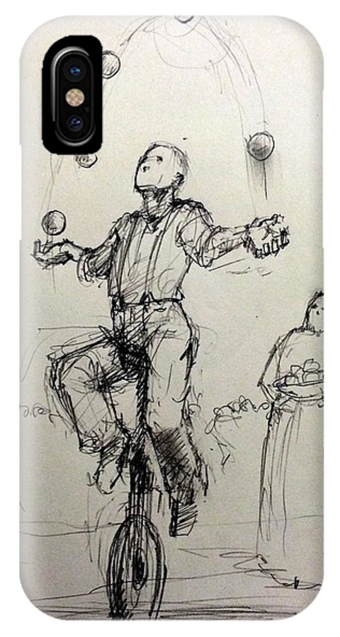 Juggler IPhone X / XS Case featuring the drawing Juggler by H James Hoff