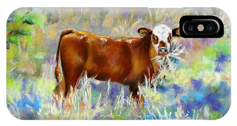 Cow IPhone X Case featuring the painting Knee High In Happiness by Vicki Brevell