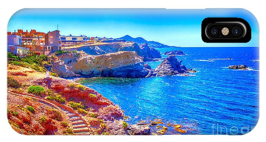 Spain IPhone X Case featuring the pyrography La Manga Seaside In Spain by Dragomir Nikolov