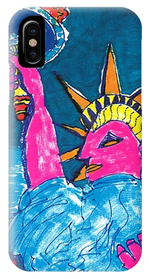 Statue Of Liberty IPhone X Case featuring the drawing Lady Liberty by Don Koester