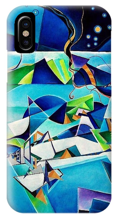 Landscpae Abstract Acrylic Wood Pens IPhone Case featuring the painting Landscape by Wolfgang Schweizer