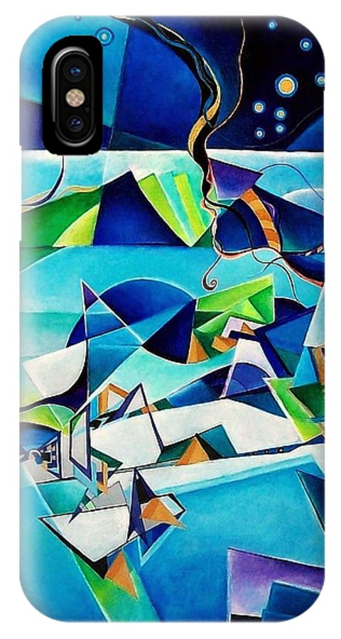 Landscpae Abstract Acrylic Wood Pens IPhone X / XS Case featuring the painting Landscape by Wolfgang Schweizer