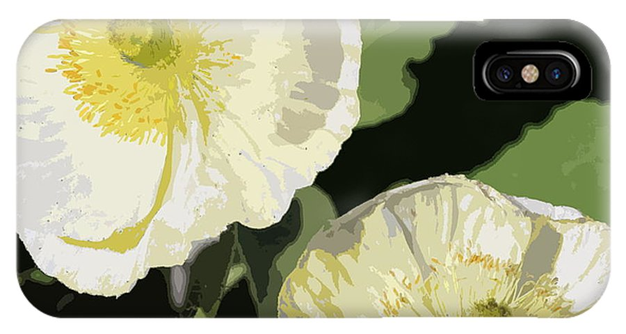 Flowers IPhone X Case featuring the photograph Large White Flowers Abstract by Mark Steven Burhart