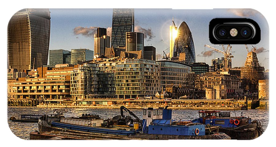 London IPhone X Case featuring the photograph London City Skyline by Ian Hufton