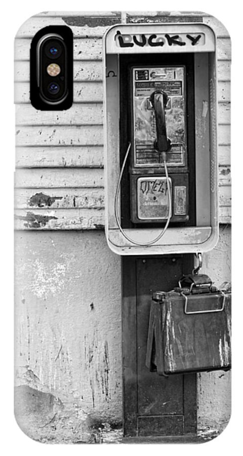 Black & White IPhone X Case featuring the photograph Lucky by Peter Tellone