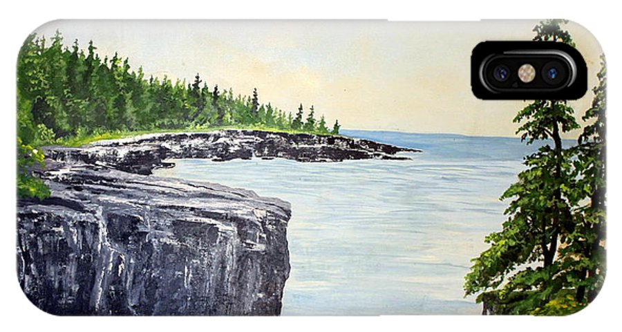 Landscape IPhone X Case featuring the painting Maine Coast by William Tremble