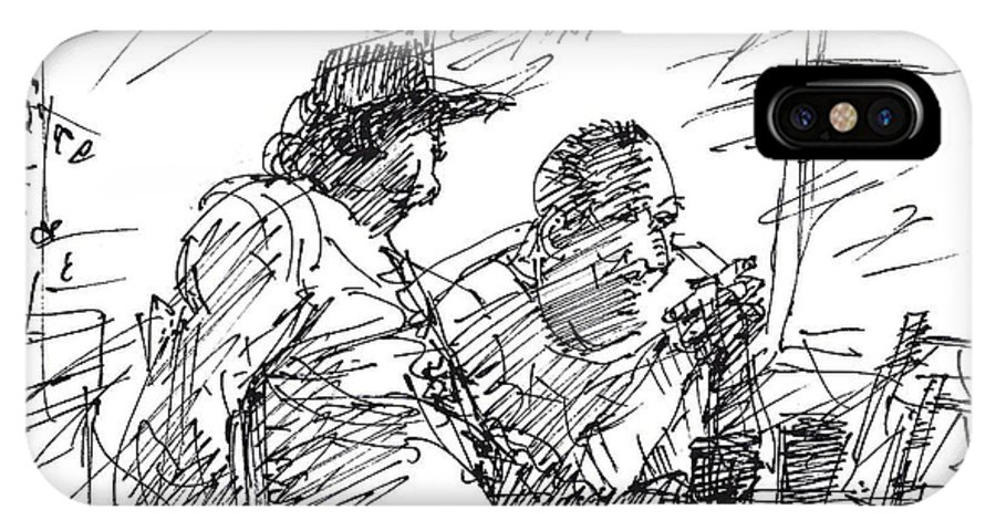 Men At Bar IPhone X Case featuring the drawing Man At The Bar by Ylli Haruni