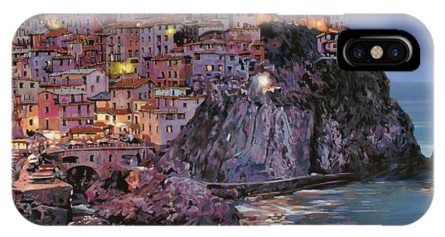 Manarola IPhone X Case featuring the painting Manarola At Dusk by Guido Borelli