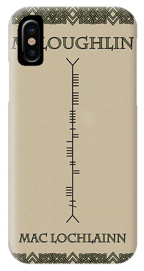Mcloughlin IPhone X Case featuring the digital art Mcloughlin Written In Ogham by Ireland Calling