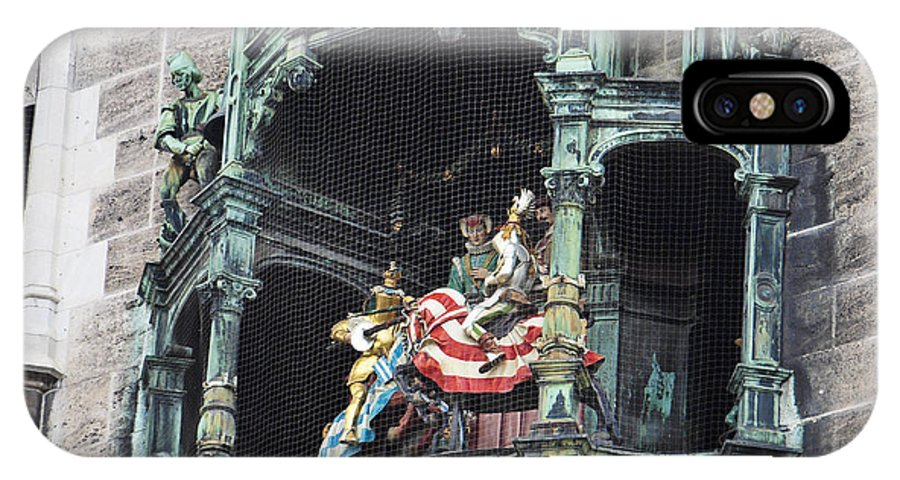 Glockenspiel IPhone X Case featuring the photograph Mechanical Clock In Munich Germany by Howard Stapleton