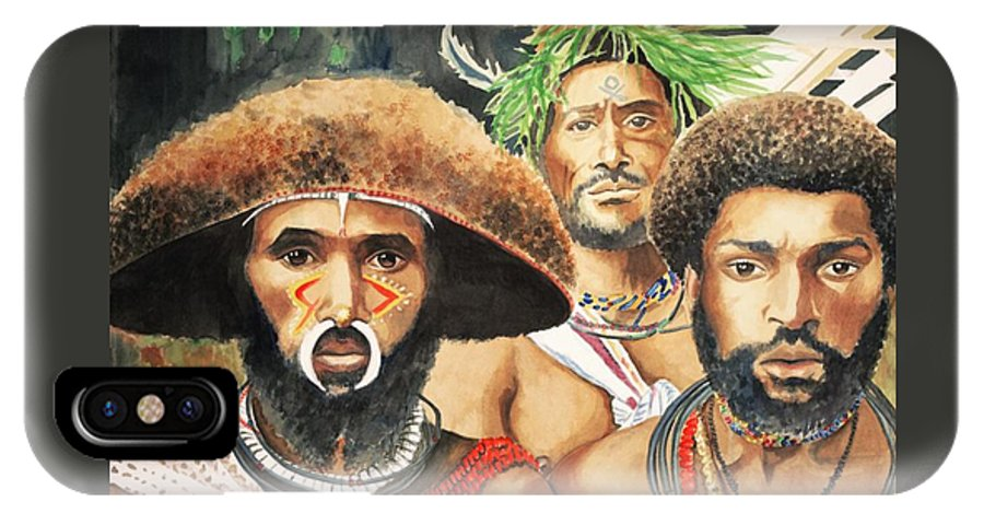 Papua IPhone X Case featuring the painting Men From New Guinea by Judy Swerlick