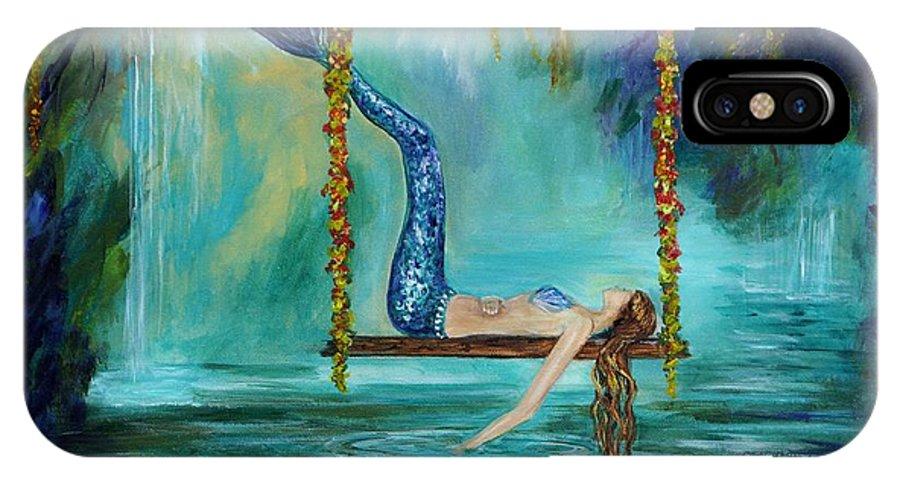 Mermaid Paintings IPhone X Case featuring the painting Mermaids Lazy Lagoon by Leslie Allen