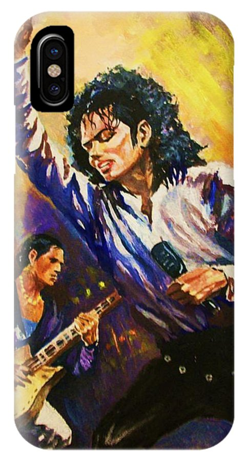 Portraits IPhone X Case featuring the painting Michael Jackson In Concert by Al Brown