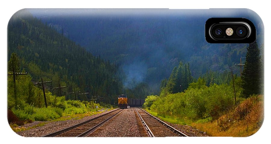 Railroad IPhone X Case featuring the photograph Misty Mountain Train by Steve Krull