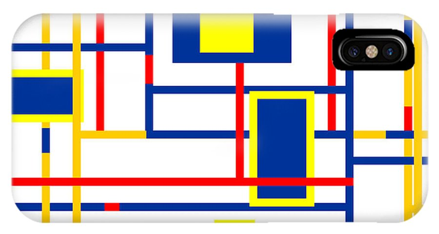 Mondrian Color Teraphy IPhone X Case featuring the digital art Mondrian Color Teraphy by Celestial Images