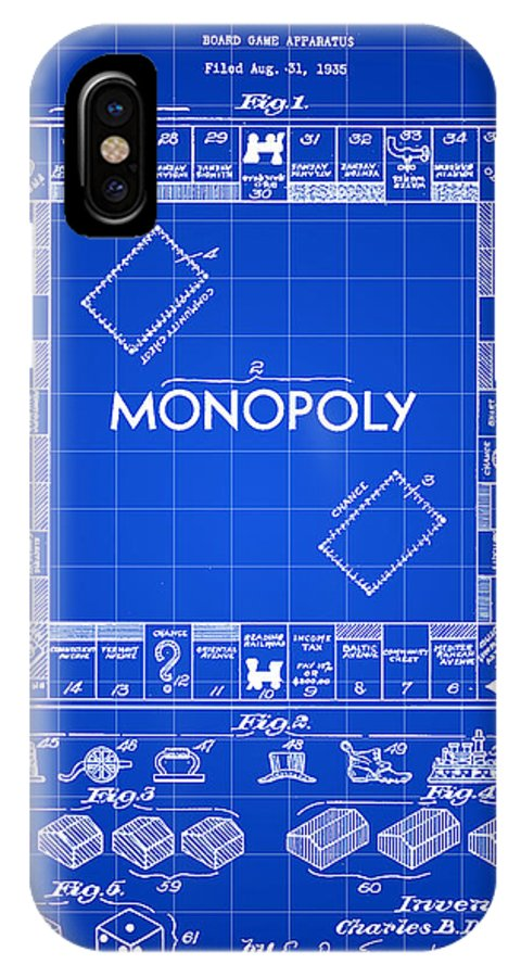 Monopoly IPhone X Case featuring the digital art Monopoly Patent 1935 - Blue by Stephen Younts