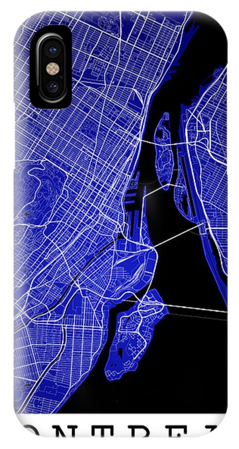 Road Map IPhone X Case featuring the digital art Montreal Street Map - Montreal Canada Road Map Art On Colored Ba by Jurq Studio