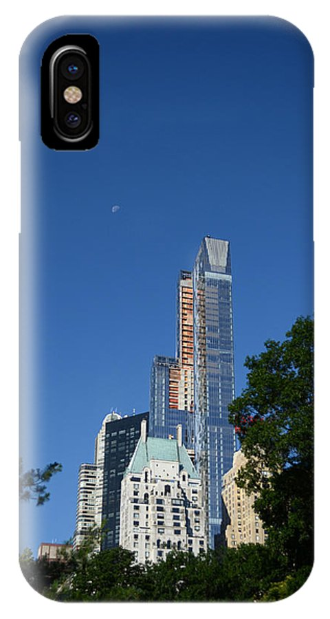 Moon IPhone X / XS Case featuring the photograph Moon Over Manhattan by Kathrine R Mitchell