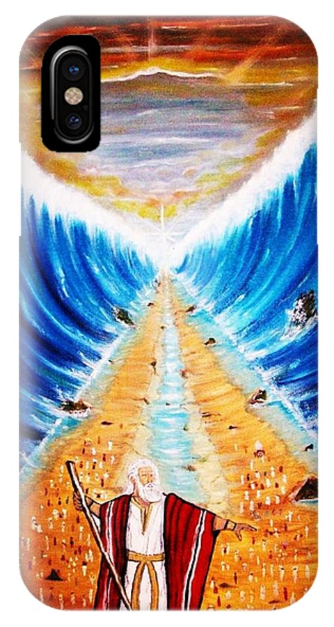 Parting The Red Sea IPhone X Case featuring the painting Moses. by Roejae Baptiste