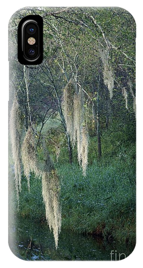 Moss IPhone X Case featuring the photograph Moss Hanging Over The River by Patricia Twardzik