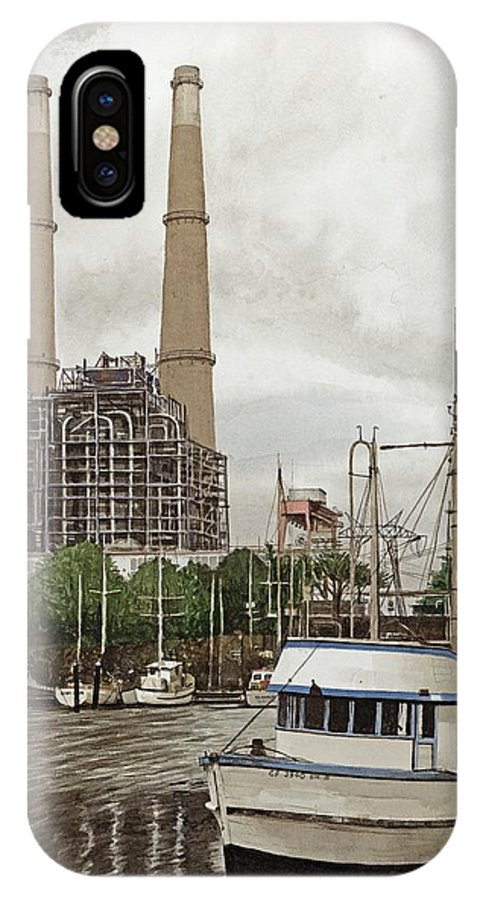 Harbor IPhone X Case featuring the painting Moss Landing by James Robertson