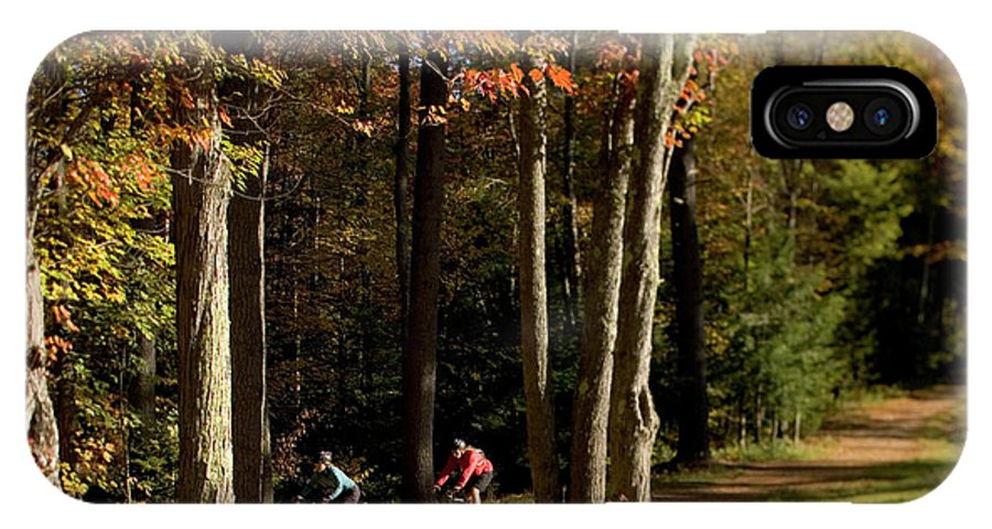 25-30 Years IPhone X Case featuring the photograph Mountain Bikers Ride In New Gloucester by David McLain