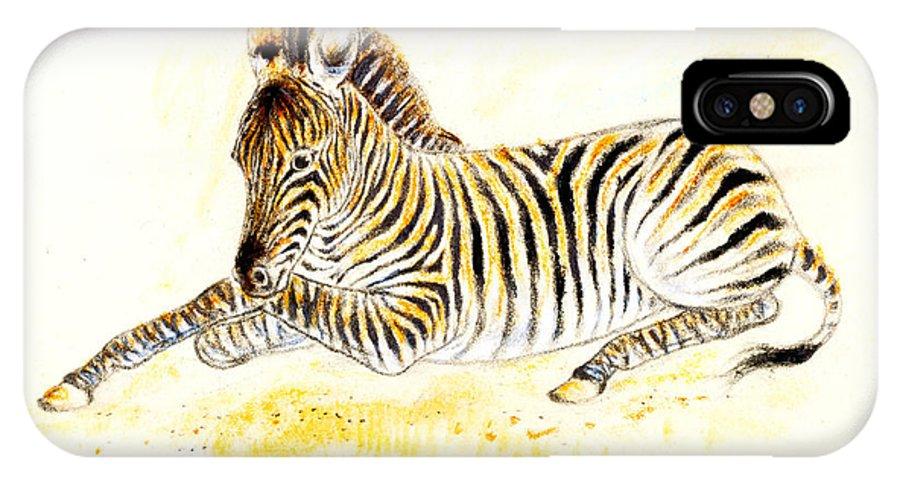 Zebra IPhone X Case featuring the painting Mountain Zebra by Kurt Tessmann