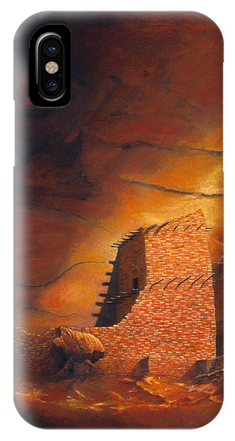 Mummy Cave Ruins IPhone X Case featuring the painting Mummy Cave Ruins by Jerry McElroy