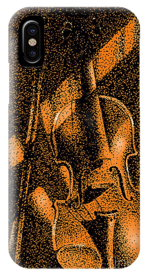 Violin IPhone X Case featuring the drawing Music Box by Russ Murry