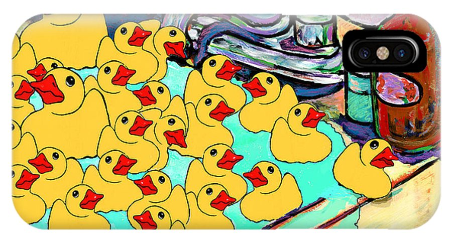 Rubber Ducks IPhone X Case featuring the painting My Sink Runneth Over by Dale Moses