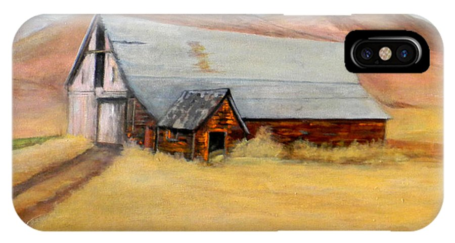 Nevada IPhone X Case featuring the painting Nevada Barn by Judie White