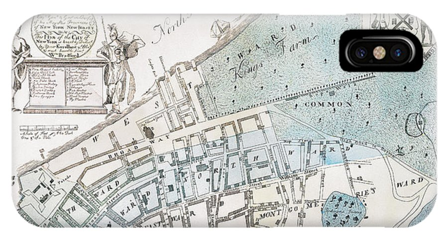 1728 IPhone X Case featuring the photograph New York City Map, 1728 by Granger