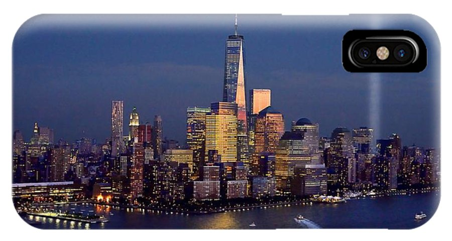 New York City Skyline Night IPhone X Case featuring the photograph New York City Tribute In Lights World Trade Center Wtc Manhattan Nyc by Jon Holiday