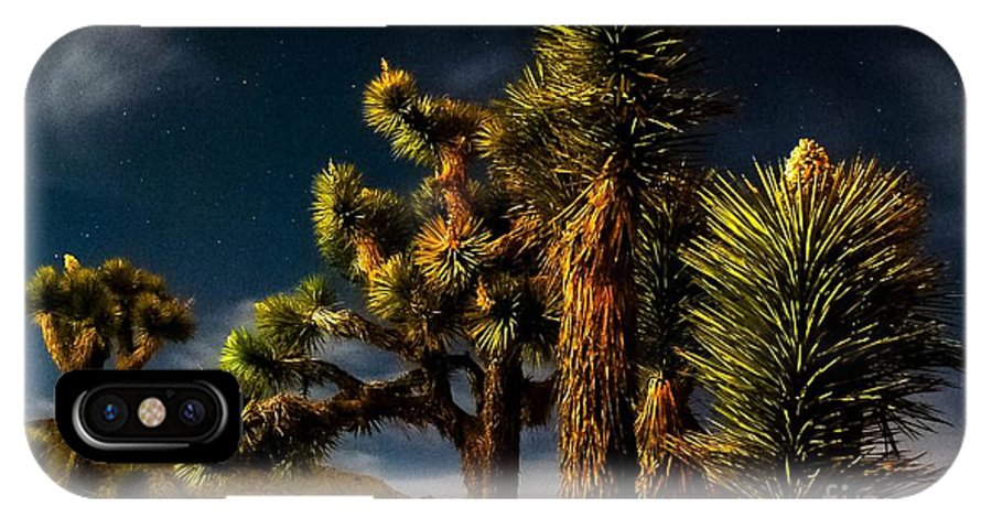 Desert Moon IPhone X Case featuring the photograph Night Desert by Angela J Wright