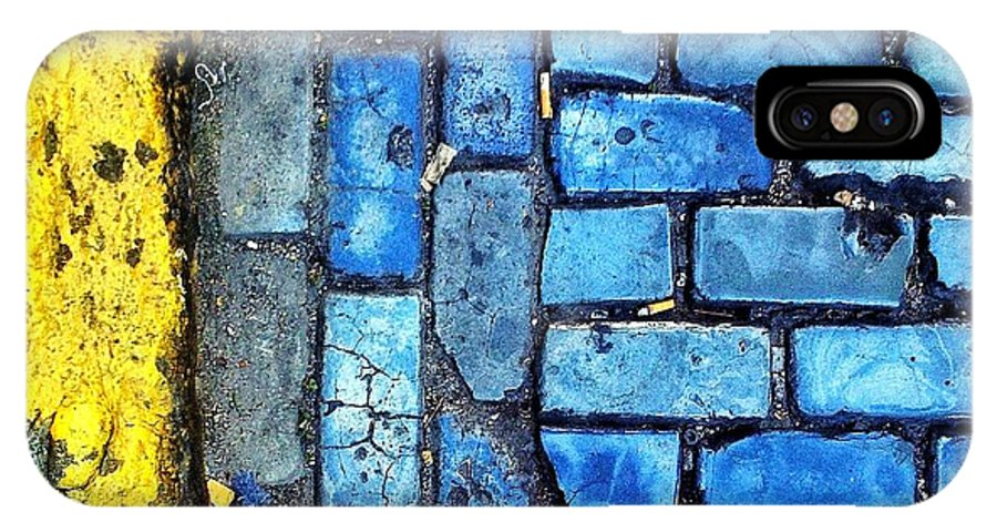 Cobblestone IPhone X Case featuring the digital art No Parking by Olivier Calas