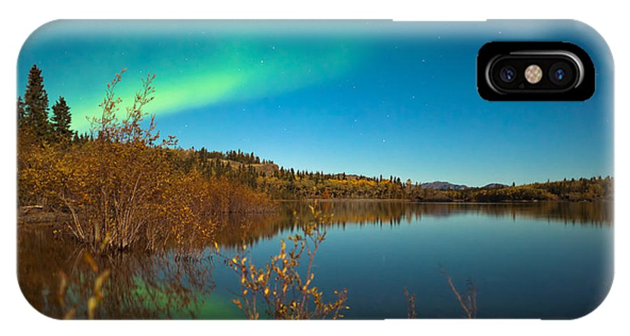 Above IPhone X Case featuring the photograph Northern Lights And Fall Colors At Calm Lake by Stephan Pietzko