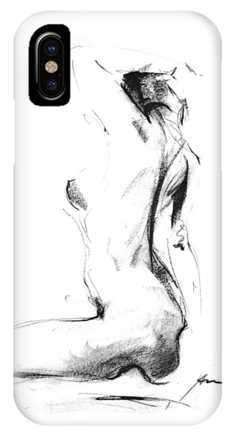 Nude IPhone X Case featuring the drawing Nude 006 by Ani Gallery