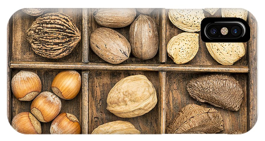 Brazilian Nut IPhone X / XS Case featuring the photograph Nuts In Rustic Wooden Box by Marek Uliasz