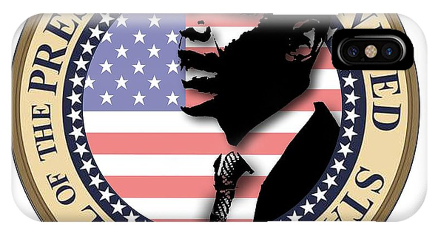 Obama IPhone X Case featuring the digital art Obama-1 by Chris Van Es